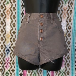 Abercrombie &Fitch High rise button denim shorts